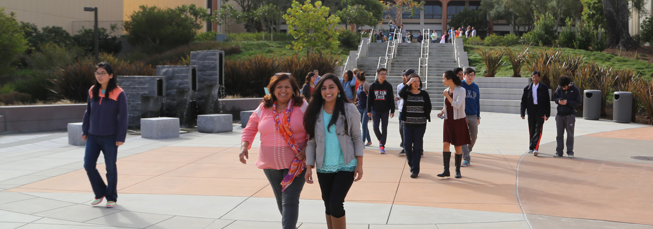 students walking on Skyline College campus