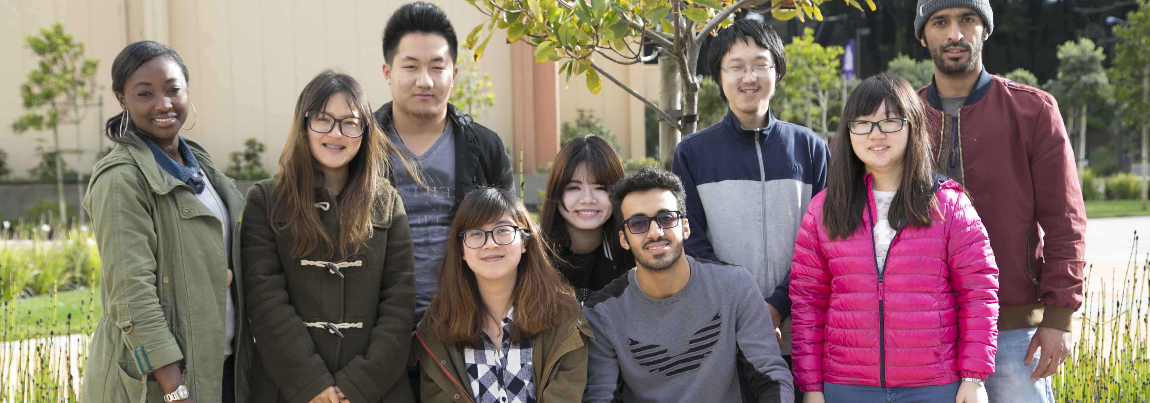 international students on skyline college campus