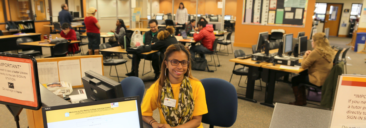 student worker in the learning center